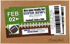 Custom SuperBowl Party Invitations - choose your team - Seahawks or Broncos - DIY Printable - available at www.customaed.com