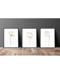 Poppies Set of 3 Wall Decor. Abstract White Flower Minimalist Painting. Watercolor Fine Art Print. Abstract Poppies Floral wall paintings. The