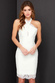 REHEARSAL DINNER Keepsake High Roads Ivory Lace Halter Dress at Lulus.com!