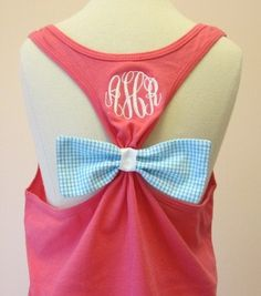 The Original Bow Tank w/Monogram and by SewMuchFunEmbroidery Preppy Style, Style Me, Bow, Couture, My Outfit, Passion For Fashion, Dress To Impress, Cute Outfits, The Originals