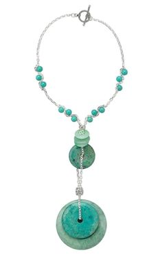 Single-Strand Necklace with Turquoise Donuts, Turquoise Beads and Sterling Silver Chain - Fire Mountain Gems and Beads
