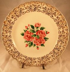 "SEBRING Pottery CHINA BOUQUETTE pattern 22k gold Dinner Plate 10"" #SebringPottery"