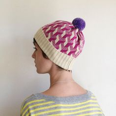 Optical Illusion Y, Geometric Pattern Knit Winter Hat, knitted Beanie - Cream & Hot Pink with Purple Pom Pom