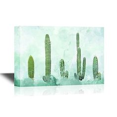 wall26  Canvas Wall Art  Cactus on Abstract Watercolor Background  Gallery Wrap Modern Home Decor  Ready to Hang  24x36 inches -- Read more reviews of the product by visiting the link on the image.Note:It is affiliate link to Amazon.