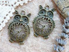 2x Owl Clock Charms SteamPunk Antique Brass by TeapotTreasuresUK, £1.30