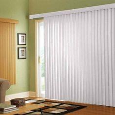 Vertical blinds for sliding glass doors.
