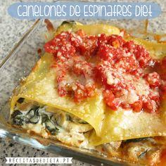 Canelones de Espinafres Diet #dieta #emagrecer  #receita #regime