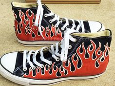 229e6b5eb795c7 Red Flames Converse Red Flames Chuck Taylors