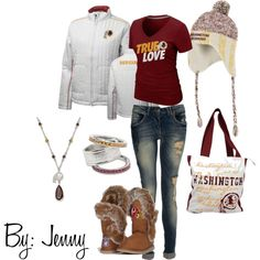Winter gameday outfit but Cowboys or LV Cardinals colors Redskins Gear, Redskins Baby, Redskins Football, Football Girls, Washington Redskins, Washington Dc, Really Cute Outfits, Work Wardrobe, New Outfits