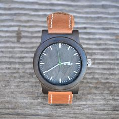 The Burly - Sandalwood Watch With Genuine Leather Band. Classy & Earthy!