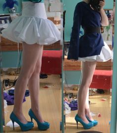 Making a super poofy and ruffly circle skirt using multiple circle skirts added together.