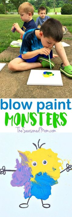 Make blow paint monsters with the kids as the weather warms up! // Craft by The Seasoned Mom