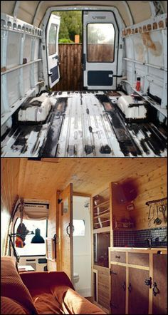 This camper van conversion is one of the most impressive stories we've come across! Why? Because it's not just about an old van converted into a camper. It's also about a story of a young man who bravely stripped his good but ordinary way of life down to the basics and built the adventurous world he dreamed of living! Read the story and have a look at its cosy interior by heading over to our site :) Rv Campers, Camper Trailers, Camper Life, Truck Camper, Truck Bed, Vida No Trailer, Van Life, Camping Diy, Camping Hacks