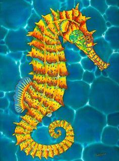 Original silk art by Daniel Jean-Baptiste of a Jamaican Seahorse