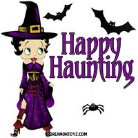 Happy Haunting - Betty Boop witch dressed in purple with bats and spider photo bbpw-hh.png