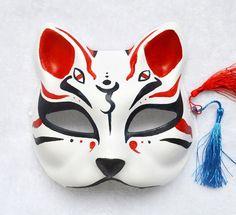 Hand Painted Half Face Japanese Fox Mask Kitsune Cosplay Masquerade Halloween…