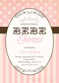 baby girl shower invitations, pink paris, bebe shower