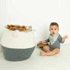Cotton Storage Basket - Medium Versatile storage basket can hold baby toys, diap. Cotton Storage B Diy Storage Bench, Playroom Storage, Nursery Storage, Dog Food Storage, Attic Storage, Toy Storage, Craft Storage, Storage Baskets, Kitchen Storage