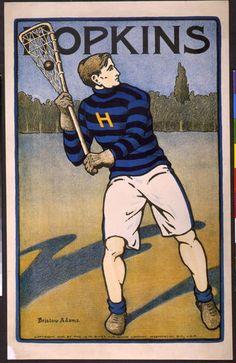 Hopkins Lacrosse - sports, vintage, vintage posters, retro prints, classic posters, graphic design, free download, Hopkins, Bristow Adams - Vintage College Lacrosse Sports Poster