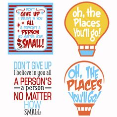 Dr. Seuss Quote Typography Pack with Light Bulb - Oh, the Places You'll Go! and Don't Give up I Believe in You all a Person's a Person No Matter how Small - School Cuttable Design Cut File. Vector, Clipart, Digital Scrapbooking Download, Available in JPEG, PDF, EPS, DXF and SVG. Works with Cricut, Design Space, Sure Cuts A Lot, Make the Cut!, Inkscape, CorelDraw, Adobe Illustrator, Silhouette Cameo, Brother ScanNCut and other compatible software.