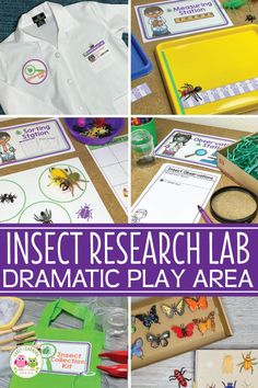 An Insect Theme Dramatic Play Area: How to Make an Entomology Lab - learning areas - Find ideas to create an entomology lab dramatic play area set up. Your kids will love playing and l - Dramatic Play Themes, Dramatic Play Area, Dramatic Play Centers, Preschool Dramatic Play, Play Based Learning, Learning Through Play, Early Learning, Preschool Classroom Setup, Classroom Ideas