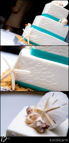 Simple beach Wedding cake! West Bay Club, Turks and Caicos Islands