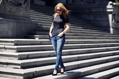 Grey, Denim, Classic Casual Outfit