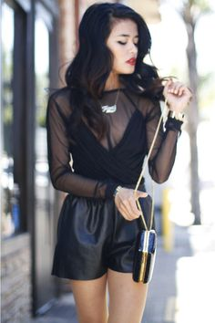 mesh panel dress Style Stalker dress /   leather shorts romwe shorts /   foxy necklace Wildfox necklace