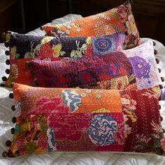Kantha Cloth Lumbar Pillow Cover, Warm   PBteen