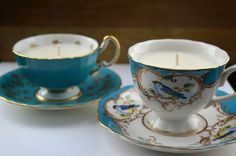 Two new teacup candles listed on Finery Soaps etsy store.