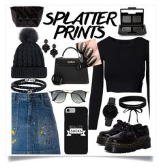 """Splatter Prints"" by covergirlchic ❤ liked on Polyvore featuring Alice + Olivia, Dr. Martens, Hermès, Ray-Ban, CLUSE, Boohoo, Tasha, Phillip Gavriel and NARS Cosmetics"