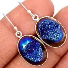 Titanium-Druzy-925-Sterling-Silver-Earrings-Jewelry-SE71500