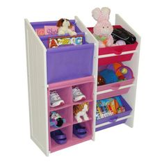 Toy And Book Organizer With 3 Pastel Bins Holder