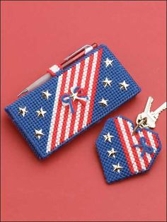 Plastic Canvas - Accessories - Decorations & Knickknacks - Checkbook Cover and Key Ring - #FP00472