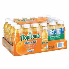 Contains twenty four 10 ounces bottles of Tropicana Orange Juice. Black Cherry Sparkling Water, Cranberry Cocktail, Juice Packaging, Kitchen Jars, Snack Recipes, Snacks, Juicing For Health, Orange Juice, Food Cravings