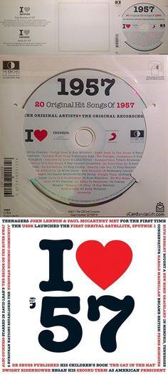 1957 Birthday Gift - I Love 1957 Compilation Music Hits CD - 20 Original Songs - 1957 Year Greeting Card