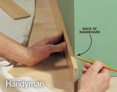 Interior Trim Work Basics: All the trim basics-start to finish-plus a clever way to get those miters tight Read more: http://www.familyhandyman.com/carpentry/trim-carpentry/interior-trim-work-basics/view-all
