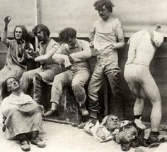 Melted and damaged mannequins after fire in Madame Tussaud's Wax Museum in London, 1925