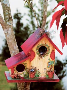 Birdhouse with decoupage and patina
