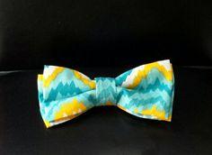 Blue/yellow zig zag boys bow tie