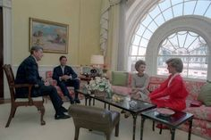President and Mrs Reagan entertaining the Prince and Princess of Wales