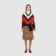Gucci Chevron intarsia knitted top Detail 2