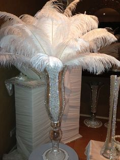 Add some extra Glam to your Wedding ! Our stunning hand made pearl and crystal centrepieces with optional feather arrangements. Ostrich Feather Centerpieces, Crystal Centerpieces, Diy Centerpieces, Feather Bouquet, Feather Wedding Centerpieces, Gatsby Theme, Gatsby Wedding, Diy Wedding, Wedding Gold