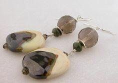 #Handmade #earrings smoky quartz kazuri ceramic brown sterling silver @cserpentDesigns