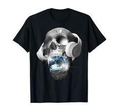 Amazon.com: EDM Urban DJ hip hop skull streetwear headphones graphic tee T-Shirt: Clothing