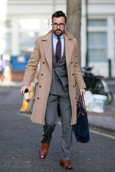 Mens Camel Overcoat with double breasted suit