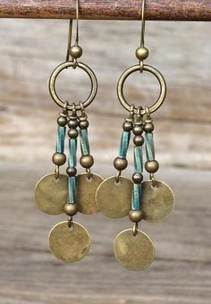 Boho Chandelier Brass Earrings with Blue Glass Accents....could use the copper disc's i just bought at Salvo..