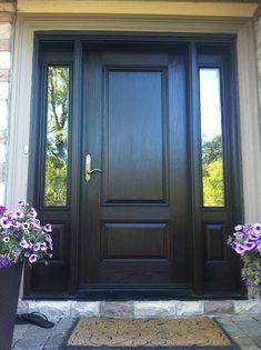 woodgrain fiberglass single exterior door with 2 side