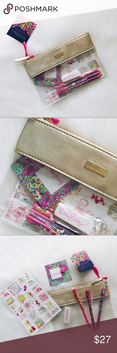 🎃FALL SALE🎃Lilly Pulitzer Agenda Bonus Pack Lilly Pulitzer Agenda Bonus Pack, set contains: •one sticker sheet •one eraser •one pen holder •three gel pens •one gold/clear case  MY PRICE IS FINAL Lilly Pulitzer Accessories