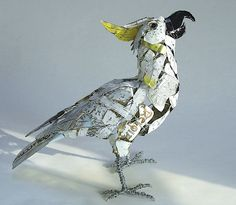 'Sulphur crested Cockatoo' wire and recycled tin